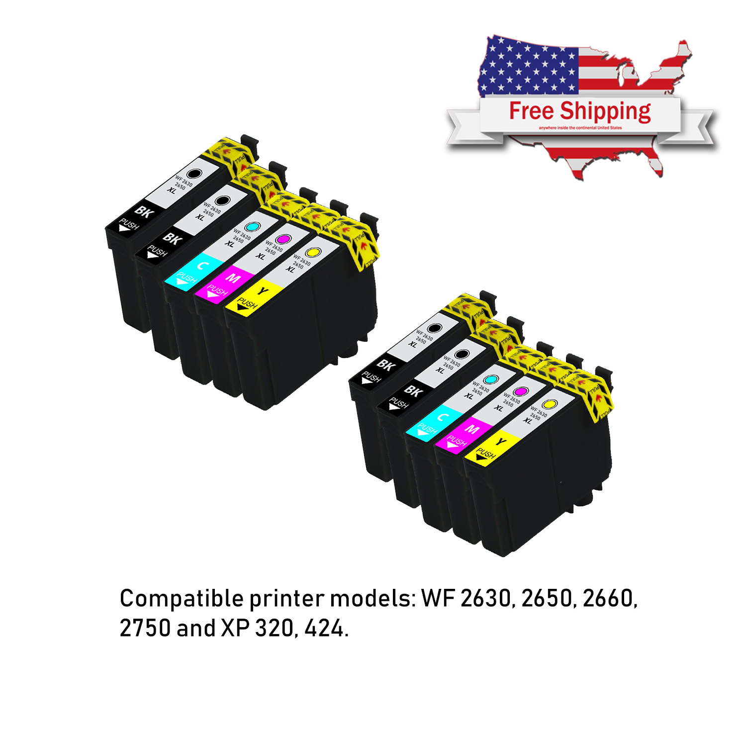 10 Ink Cartridges NON-OEM For Epson WorkForce WF-2750 WF