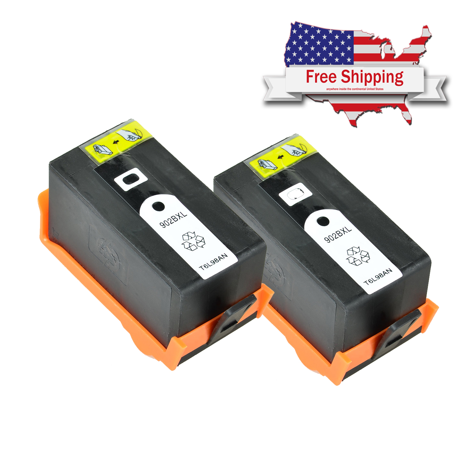 Details about 2 black Ink Cartridge for HP 902XXL OfficeJet 6962 6975 6960  6968 6978 6979