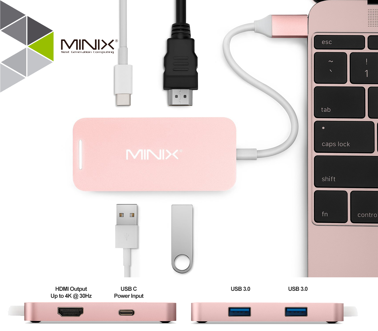 New Type C USB 3.1 to USB-C 4K HDMI USB 3.0 Adapter 4 in 1 Hub For Apple Macbook